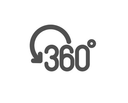 Full rotation sign. 360 degree icon. VR technology simulation symbol. Classic flat style. Simple full rotation icon. Vector
