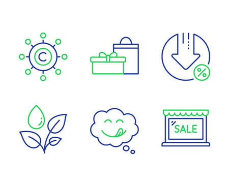 Plants watering, Copywriting network and Yummy smile line icons set. Gifts, Loan percent and Sale signs. Water drop, Content networking, Comic chat. Birthday boxes. Business set. Vector Çizim