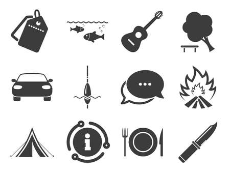 Fishing, campfire and tourist tent signs. Discount offer tag, chat, info icon. Hike trip, camping icons. Guitar music, knife and food symbols. Classic style signs set. Vector