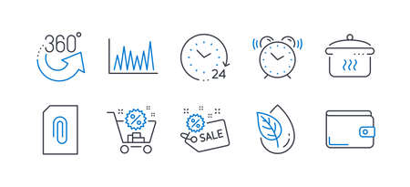 Set of Business icons, such as Shopping cart, Organic product, Alarm clock, Sale, 360 degrees, Line graph, 24 hours, Attachment, Boiling pan, Money wallet line icons. Discount, Leaf. Vector Reklamní fotografie - 133853045