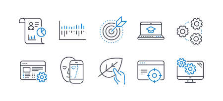 Set of Science icons, such as Organic tested, Seo targeting, Column diagram, Face biometrics, Web settings, Website education, Target purpose, Gears, Report, Settings line icons. Vector Reklamní fotografie - 133853073