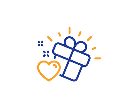 Heart present sign. Love gift line icon. Valentine day symbol. Colorful outline concept. Blue and orange thin line love gift icon. Vector