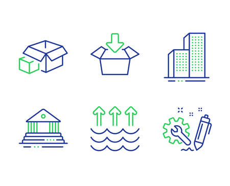 Evaporation, Skyscraper buildings and Court building line icons set. Get box, Packing boxes and Engineering signs. Global warming, Town architecture, Government house. Send package. Vector