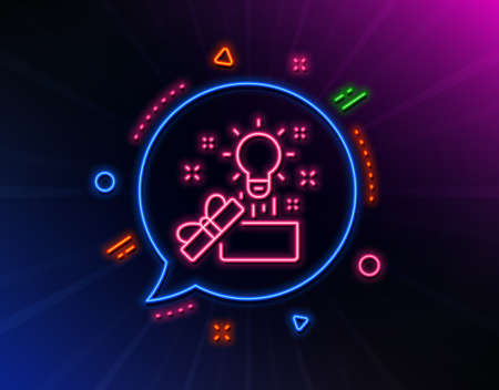 Out of the box line icon. Neon laser lights. Creativity sign. Gift box with idea symbol. Glow laser speech bubble. Neon lights chat bubble. Banner badge with creative idea icon. Vector