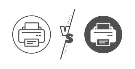 Printout Electronic Device sign. Versus concept. Printer icon. Office equipment symbol. Line vs classic printer icon. Vector