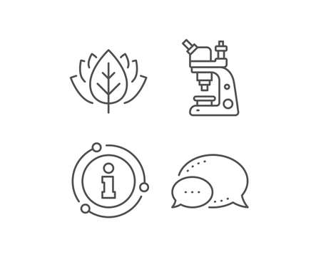 Microscope line icon. Chat bubble, info sign elements. Chemistry lab sign. Analysis symbol. Linear microscope outline icon. Information bubble. Vector Ilustrace