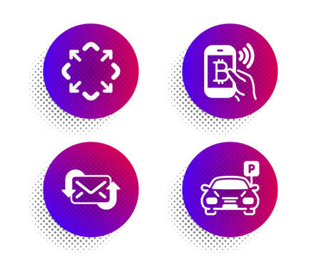 Refresh mail, Maximize and Bitcoin pay icons simple set. Halftone dots button. Parking sign. New e-mail, Full screen, Mobile payment. Car park. Technology set. Classic flat refresh mail icon. Vector Stok Fotoğraf - 133853187