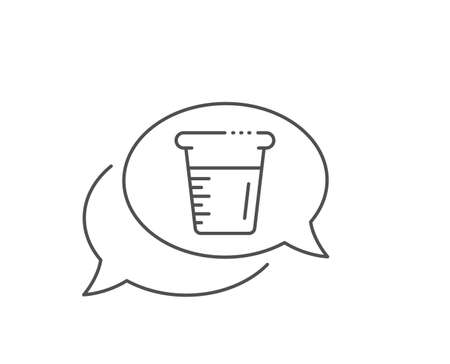Cooking beaker line icon. Chat bubble design. Glass water sign. Measuring cup symbol. Outline concept. Thin line cooking beaker icon. Vector