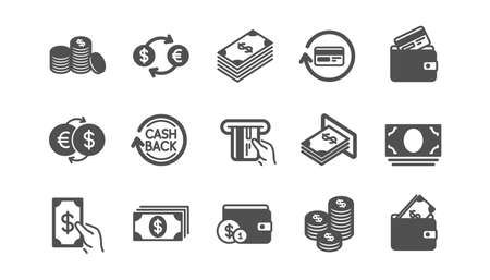 Money and payment icons. Cash, Wallet and Coins. Account cashback classic icon set. Quality set. Vector Illustration