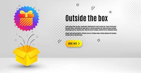 Gift box badge. Abstract background. Discount sale banner. Coupon present icon. Outside the box concept. Banner with offer badge. Vector Illusztráció