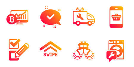 Approved, Swipe up and Checkbox line icons set. Bitcoin chart, Ship and Car service signs. Smartphone buying, Washing machine symbols. Chat message, Scrolling arrow. Technology set. Vector