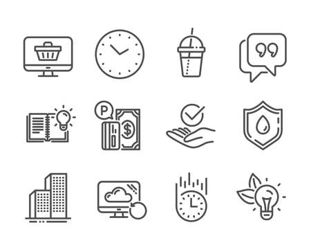 Set of Business icons, such as Web shop, Time, Quote bubble, Parking payment, Product knowledge, Recovery cloud, Fast delivery, Approved, Blood donation, Skyscraper buildings, Eco energy. Vector