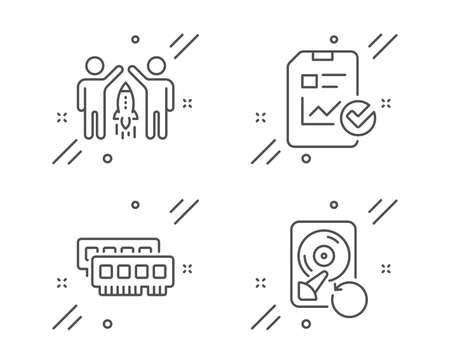 Ram, Partnership and Report checklist line icons set. Recovery hdd sign. Random-access memory, Business startup, Sales growth file. Backup info. Technology set. Line ram outline icon. Vector Vektorgrafik