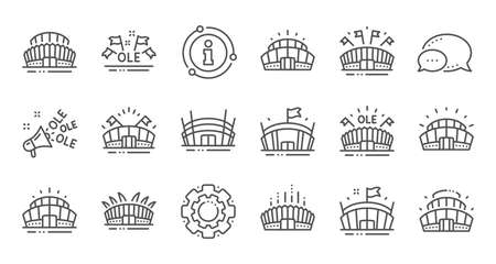 Sports stadium line icons. Ole chant, arena football, championship architecture. Arena stadium, sports competition, event flag icons. Sport complex linear set. Quality line set. Vector Illustration