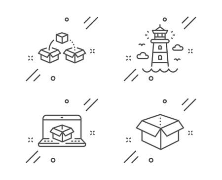 Parcel shipping, Lighthouse and Online delivery line icons set. Open box sign. Send box, Beacon tower, Parcel tracking website. Delivery package. Transportation set. Vector