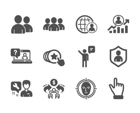 Set of People icons, such as International recruitment, Faq, Users, Security, Face detect, Click hand, Repairman, Sharing economy, Career ladder, Group, Agent, Hold heart classic icons. Vector Reklamní fotografie - 133853461