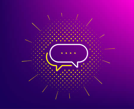 Dots message line icon. Halftone pattern. Chat comment sign. Speech bubble symbol. Gradient background. Dots message line icon. Yellow halftone pattern. Vector
