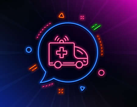 Ambulance car line icon. Neon laser lights. Medical emergency transport sign. Glow laser speech bubble. Neon lights chat bubble. Banner badge with ambulance car icon. Vector