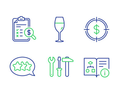 Spanner tool, Stars and Wineglass line icons set. Accounting report, Dollar target and Technical algorithm signs. Repair screwdriver, Customer feedback, Burgundy glass. Check finance. Vector