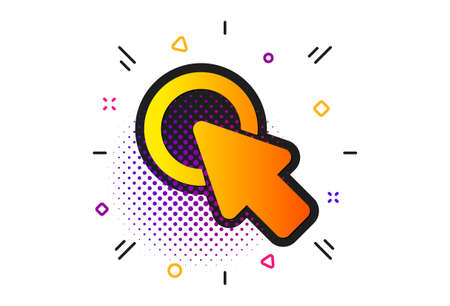 Push the button sign. Halftone circles pattern. Click here icon. Web cursor symbol. Classic flat click here icon. Vector 向量圖像