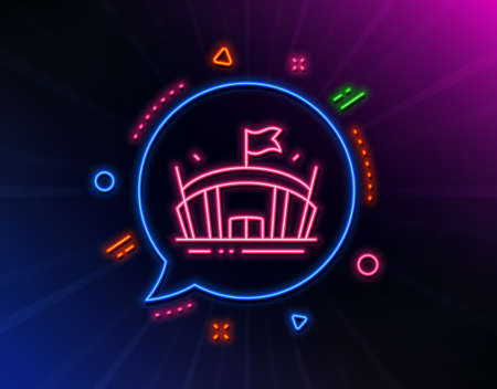Sports stadium line icon. Neon laser lights. Arena with flag sign. Sport complex symbol. Glow laser speech bubble. Neon lights chat bubble. Banner badge with arena icon. Vector Illusztráció