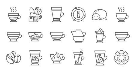 Coffee types and Tea icons. Mocha, Cappuccino and Latte. Americano cup linear icon set. Quality line set. Vector Ilustracja