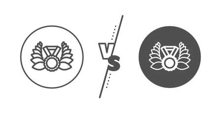 Winner medal symbol. Versus concept. Laurel wreath line icon. Prize award sign. Line vs classic laureate medal icon. Vector 일러스트