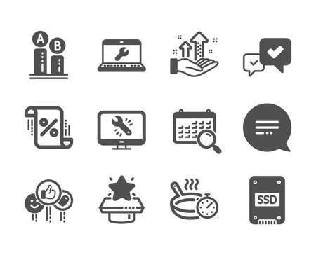 Set of Technology icons, such as Analysis graph, Loan percent, Monitor repair, Search calendar, Approve, Text message, Like, Winner podium, Laptop repair, Ab testing, Ssd, Frying pan. Vector