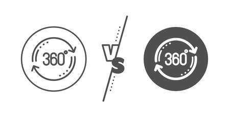 Full rotation sign. Versus concept. 360 degree line icon. VR technology simulation symbol. Line vs classic full rotation icon. Vector Ilustração