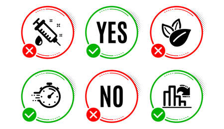 Organic product, Timer and Medical syringe icons simple set. Yes no check box. Decreasing graph sign. Leaves, Deadline management, Vaccination. Column chart. Science set. Organic product icon. Vector Ilustrace