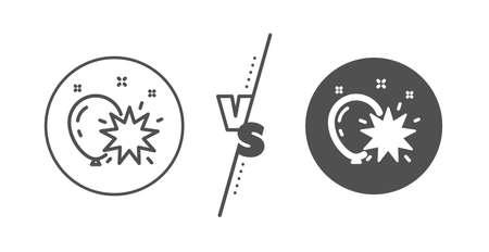 Amusement park sign. Versus concept. Balloon dart line icon. Pop the balloon symbol. Line vs classic balloon dart icon. Vector Иллюстрация