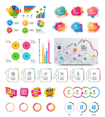 Infographic elements. Financial graph, timelines, options banner badges. Sale discount shapes, countdown timer. Analytics chart, timeline infographics. Offer layout page. Vector graphs and charts Archivio Fotografico - 133853865