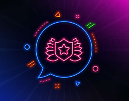 Award shield line icon. Neon laser lights. Laurel wreath symbol. Laureate sign. Glow laser speech bubble. Neon lights chat bubble. Banner badge with laureate icon. Vector 일러스트