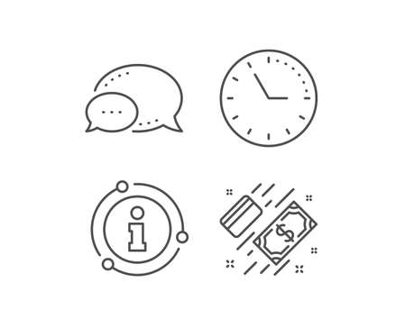 Money line icon. Chat bubble, info sign elements. Payment methods sign. Credit card symbol. Linear payment outline icon. Information bubble. Vector