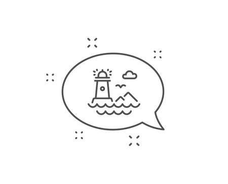 Lighthouse line icon. Chat bubble design. Searchlight building symbol. Outline concept. Thin line lighthouse icon. Vector