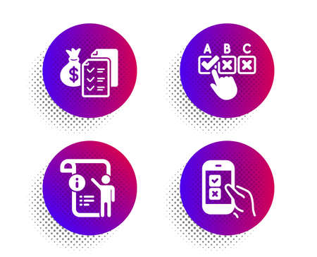 Accounting wealth, Manual doc and Correct checkbox icons simple set. Halftone dots button. Mobile survey sign. Audit report, Project info, Answer. Phone quiz test. Education set. Vector
