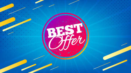 Best offer badge. Discount banner shape. Sale coupon bubble icon. Abstract background. Modern concept design. Banner with offer badge. Vector Foto de archivo - 133854086
