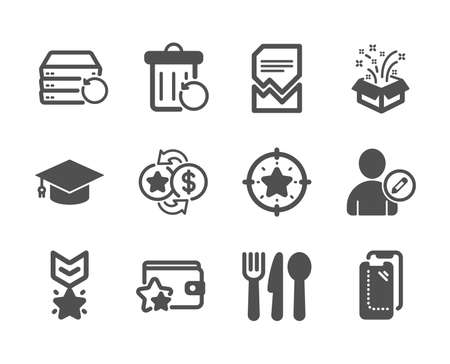Set of Business icons, such as Loyalty program, Winner medal, Edit user, Recovery trash, Smartphone glass, Corrupted file, Star target, Graduation cap, Gift, Loyalty points, Food. Vector