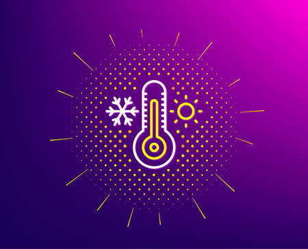 Thermometer line icon. Halftone pattern. Cold and warm thermostat sign. Winter, summer symbol. Snowflake and sun. Gradient background. Thermometer line icon. Yellow halftone pattern. Vector Stock Illustratie