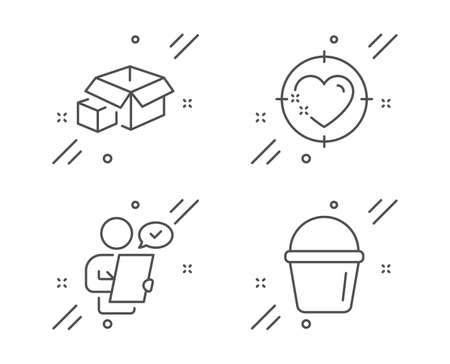 Heart target, Customer survey and Packing boxes line icons set. Bucket sign. Love aim, Contract, Delivery package. Washing equipment. Line heart target outline icon. Vector
