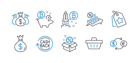 Set of Finance icons, such as Shopping basket, Bitcoin project, Check investment, Sale, Loan percent, Loyalty tags, Money bag, Bitcoin coin, Cashback, Currency exchange line icons. Vector Çizim
