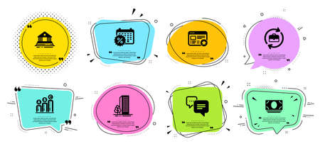 Dots message, Buildings and Graph chart line icons set. Chat bubbles with quotes. Favorite, Human resources and Cash money signs. Calendar discounts, Court building symbols. Vector Ilustrace