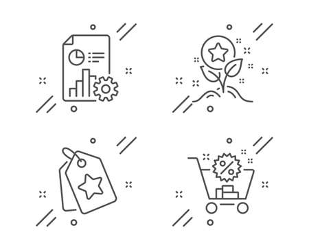 Report, Loyalty points and Loyalty tags line icons set. Shopping cart sign. Presentation document, Bonus grows, Bonus reward. Discount. Finance set. Line report outline icon. Vector 일러스트