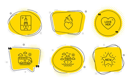 Ship travel, Love her and New star signs. Chat bubbles. Bus travel, Crane claw machine and Heart flame line icons set. Transport, Attraction park, Love fire. Cruise transport. Holidays set. Vector Ilustracja