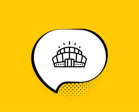 Arena stadium line icon. Comic speech bubble. Competition building sign. Sport complex symbol. Yellow background with chat bubble. Arena stadium icon. Colorful banner. Vector