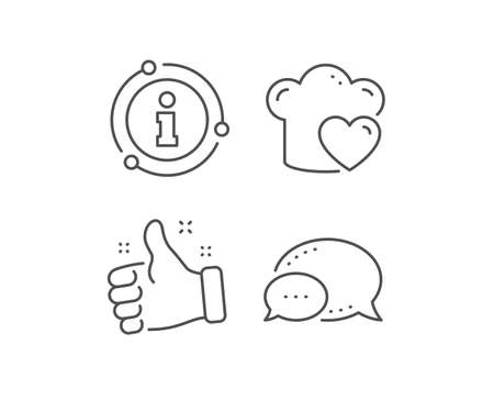 Cooking hat line icon. Chat bubble, info sign elements. Chef sign. Love food preparation symbol. Linear love cooking outline icon. Information bubble. Vector Ilustracja