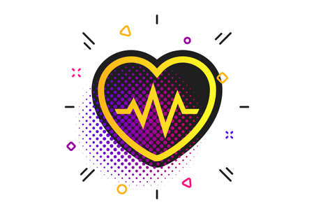 Heartbeat sign icon. Halftone dots pattern. Cardiogram symbol. Classic flat heartbeat icon. Vector