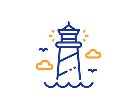 Lighthouse line icon. Searchlight building symbol. Colorful outline concept. Blue and orange thin line lighthouse icon. Vector