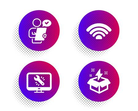 Monitor repair, Wifi and Customer survey icons simple set. Halftone dots button. Creative idea sign. Computer service, Wifi internet, Contract. Lightning. Business set. Vector