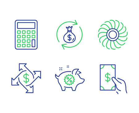 Fan engine, Money exchange and Calculator line icons set. Payment exchange, Piggy sale and Receive money signs. Ventilator, Cash in bag, Accounting device. Discounts. Finance set. Vector